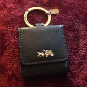 Coach Black LeathercPhoto Holder Keychain